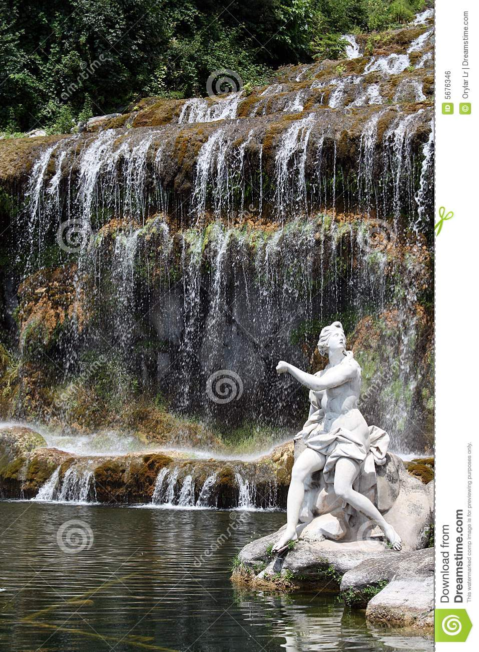 waterfall and sculpture stock photo image of botany lakes 5676346