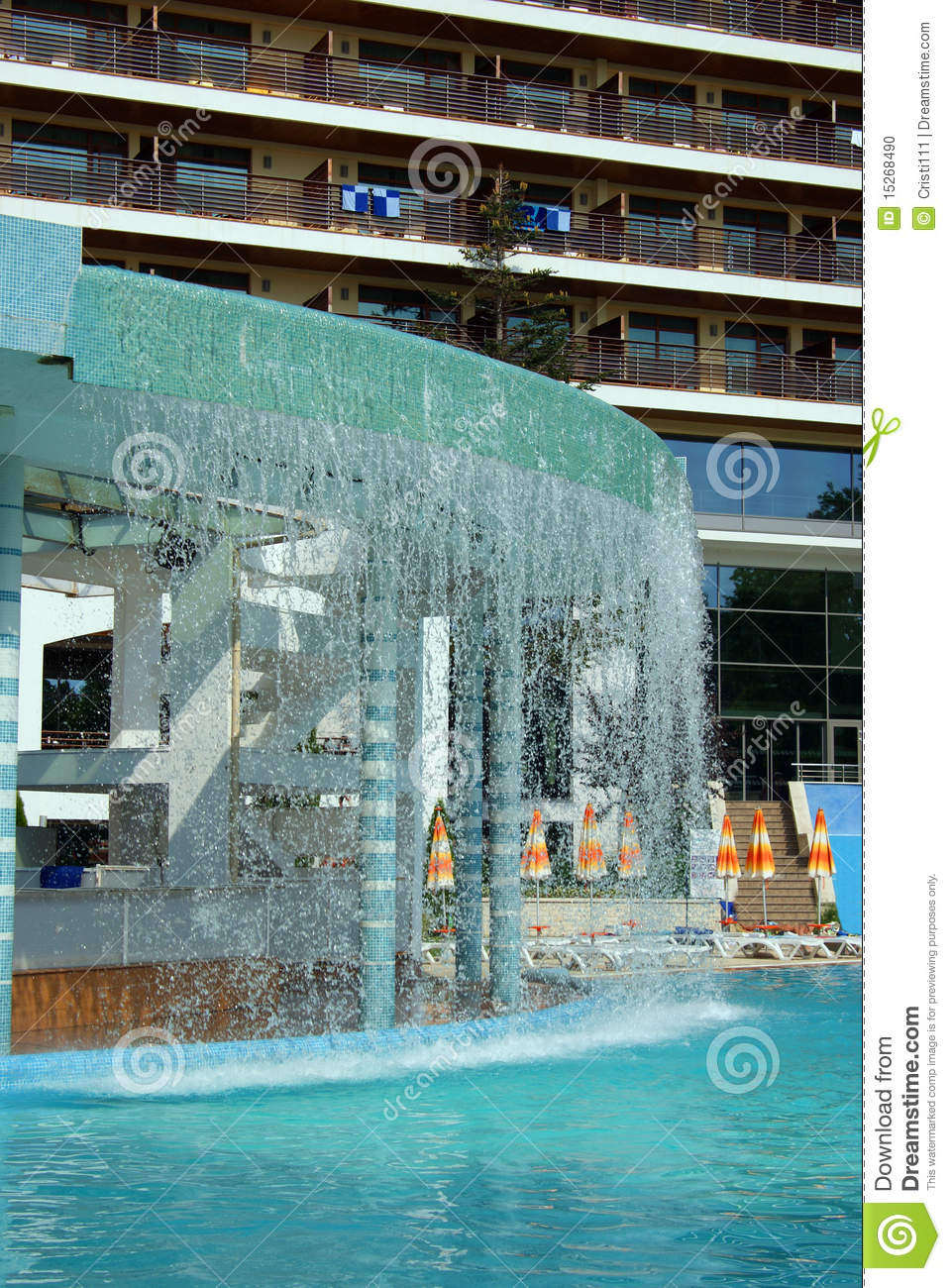 Waterfall And Swimming Pool In Front Of A Hotel Stock Photo Image