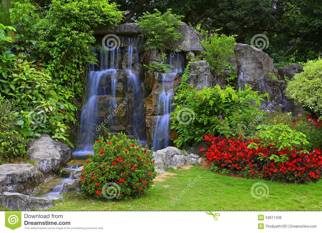 Waterfall in tropical garden stock photo image 53617436 for Cascadas para jardin fotos
