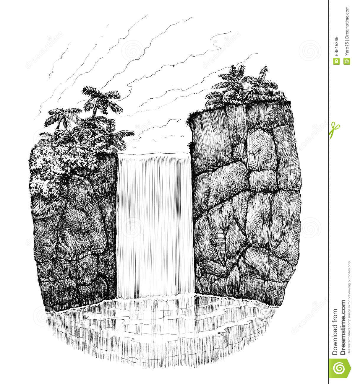 Line Drawing Waterfall : Waterfall stock illustration of leaf summer
