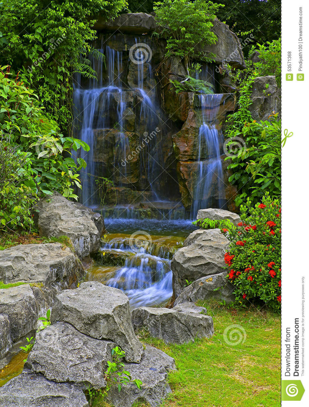 Waterfall in tropical zen garden stock photo image of for Zen garden waterfall
