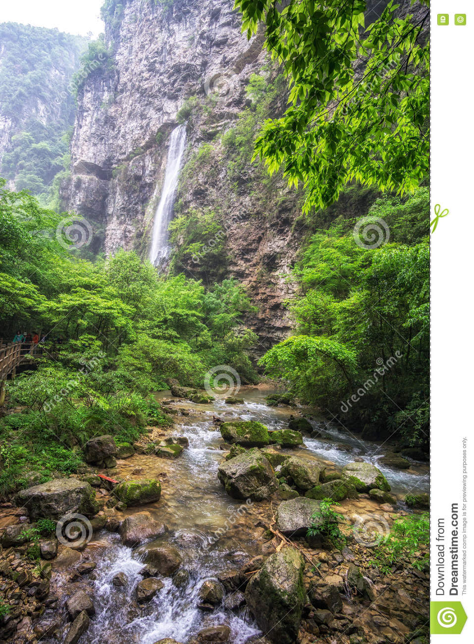 Chute Grand Canyon waterfall view in zhangjiajie grand canyon stock image - image of