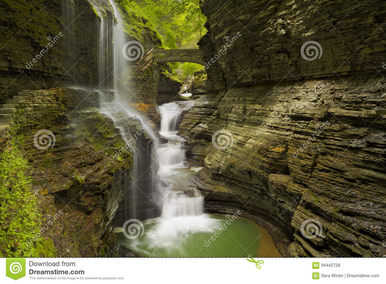 Waterfall in Watkins Glen Gorge in New York state, USA