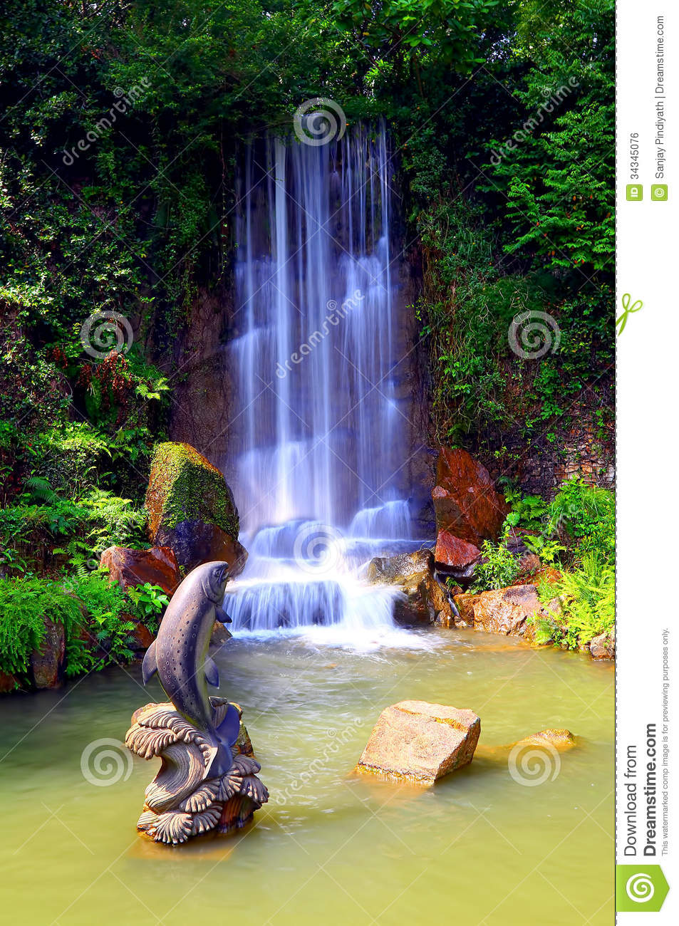 Waterfall in zen garden royalty free stock image image for Zen garden waterfall