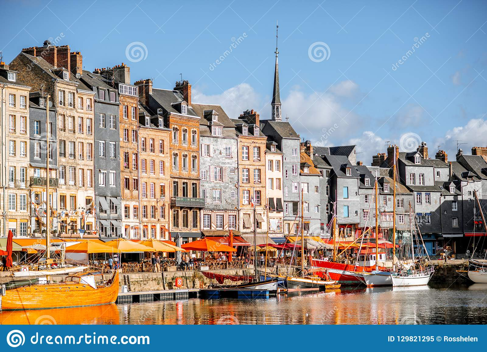 Waterfront in Honfleur town, France