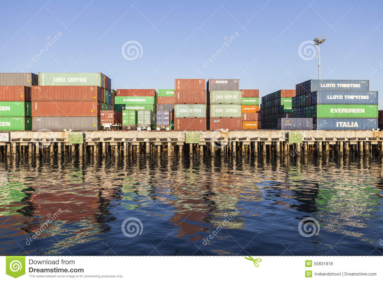Waterfront Cargo Containers Editorial Stock Photo - Image of