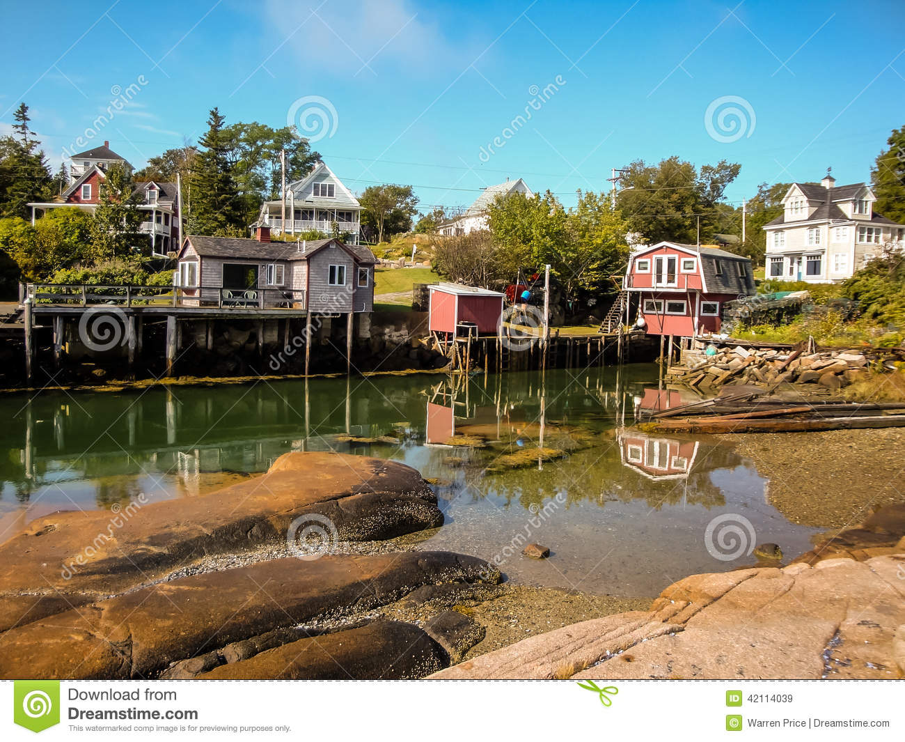 Waterfront cottages in fishing village stock image image for Ocean isles fishing village