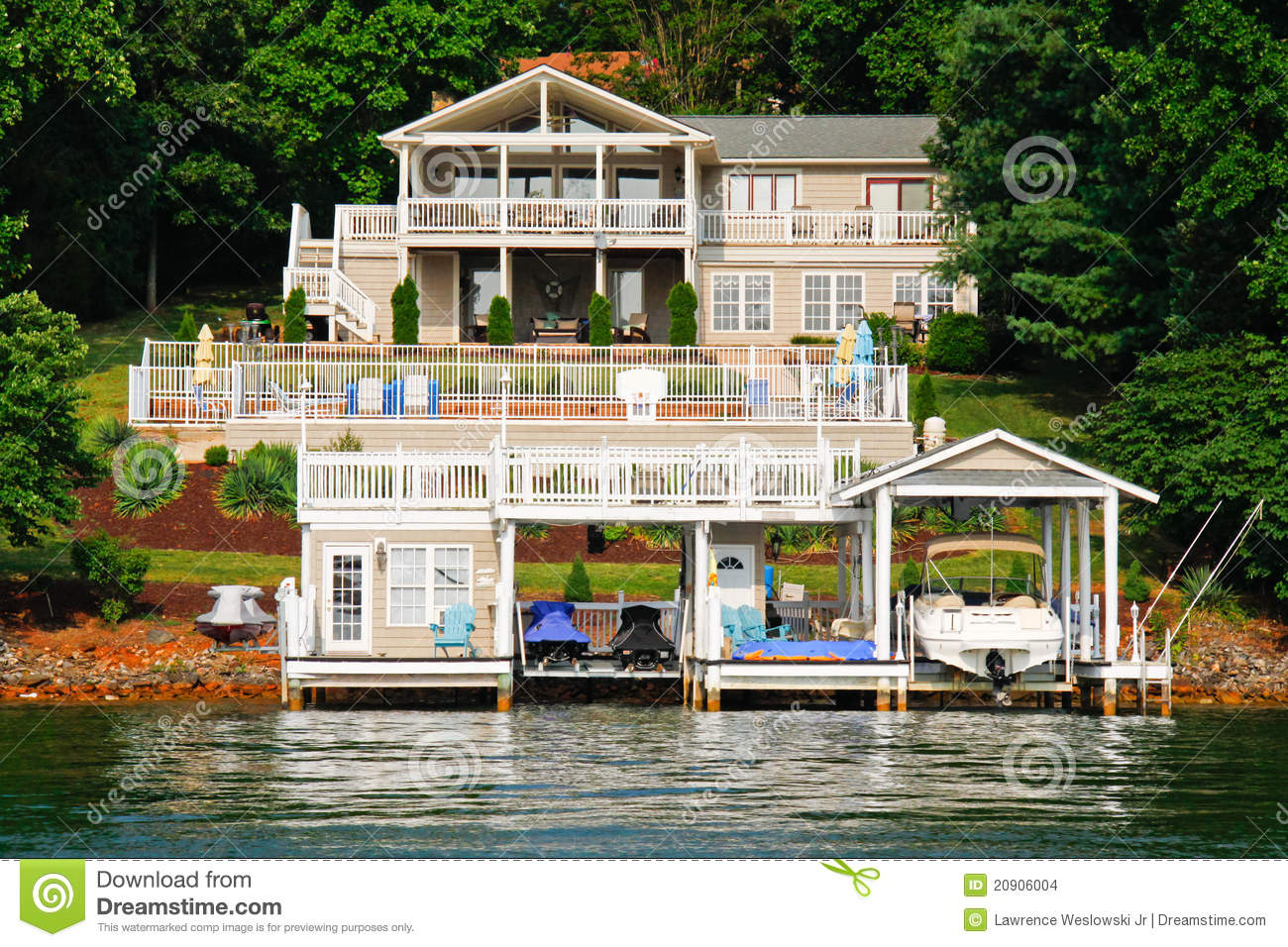 Lakeside Home Plans Waterfront House Pool Boats Jet Skis Stock Images
