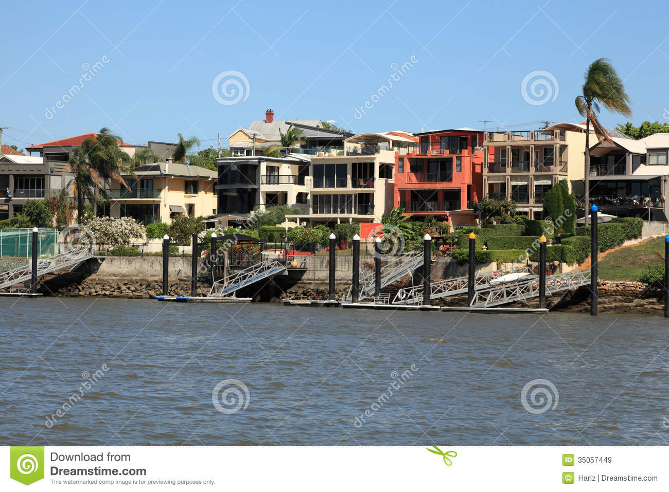 Royalty free stock photo download waterfront houses at brisbane