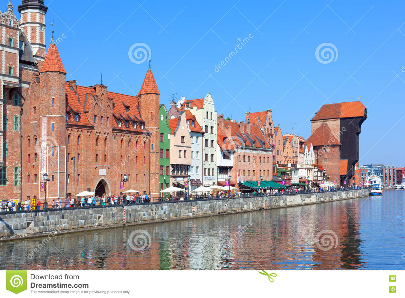 Waterfront with Mariacka Gate and old Crane (Zuraw) in Gdansk, P