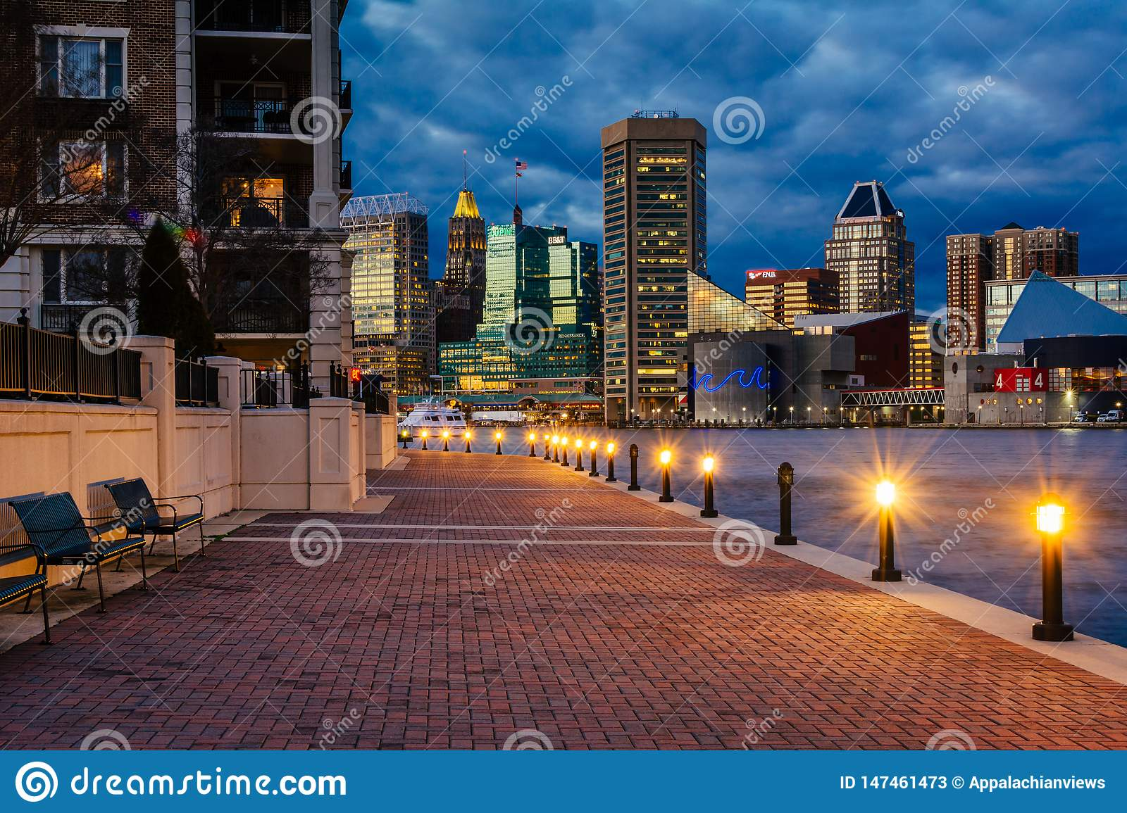 The Waterfront Promenade and Baltimore skyline seen at the Inner Harbor, in Baltimore, Maryland