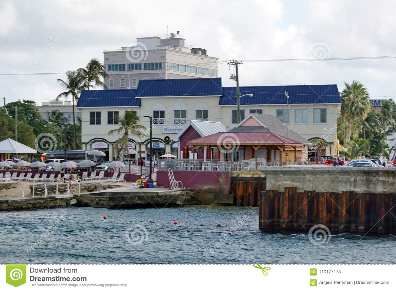 Restaurants Along The Waterfront On Grand Cayman Editorial Stock