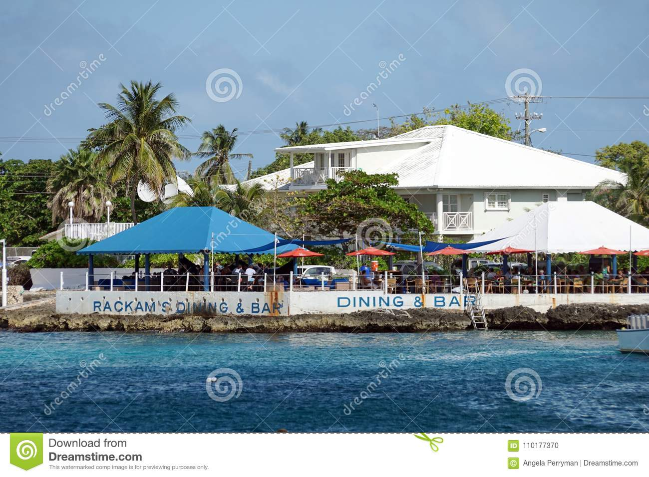 Restaurants Along The Waterfront On Grand Cayman Editorial Image