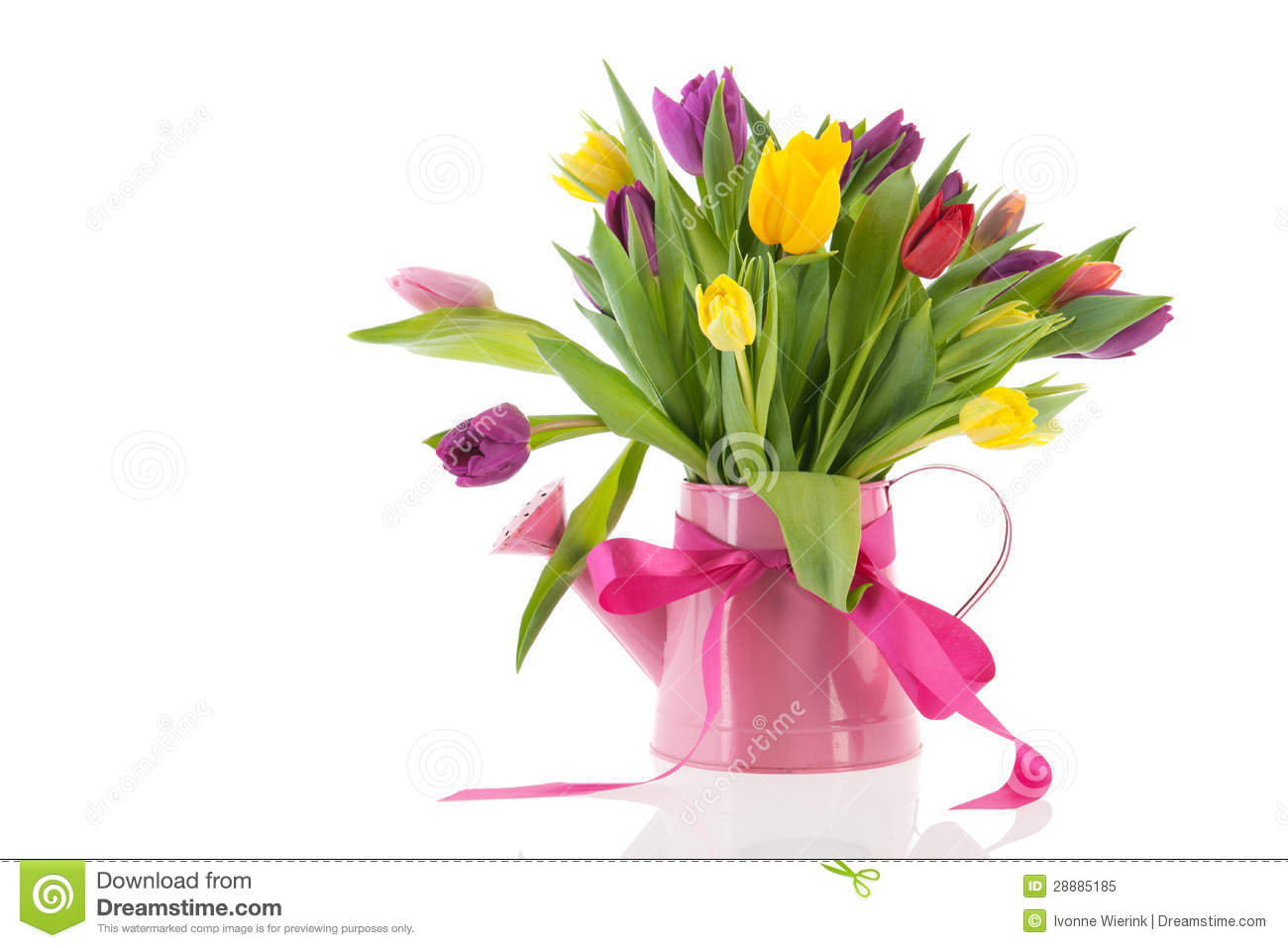 Watering can with bouquet tulips for birthday stock image for Bouquet de fleurs 10