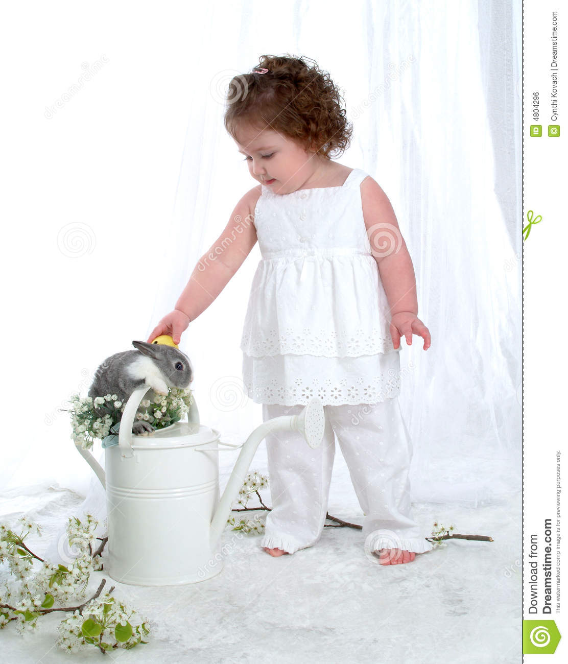 Watering Can Bunny and Girl