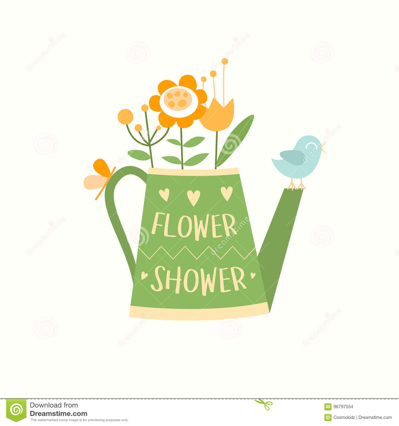 watering can with flowers bird and butterfly flower shop logotype