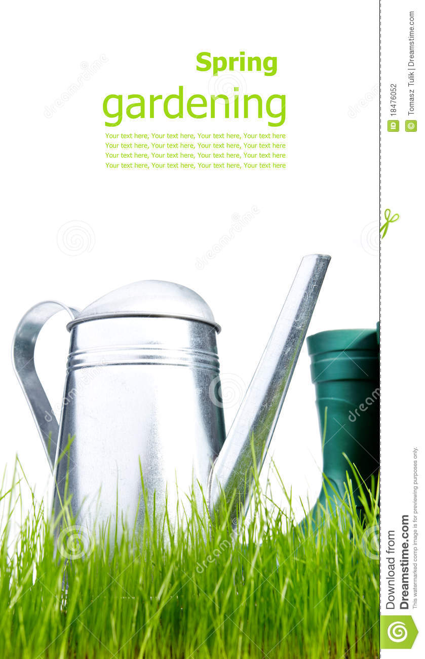 Watering can with grass and garden tools stock photography for Gardening tools watering