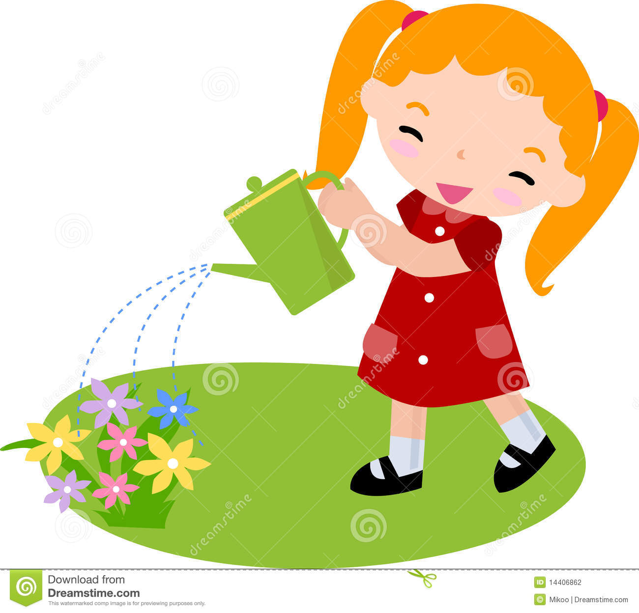cute little girl watering flowers -illustration art.