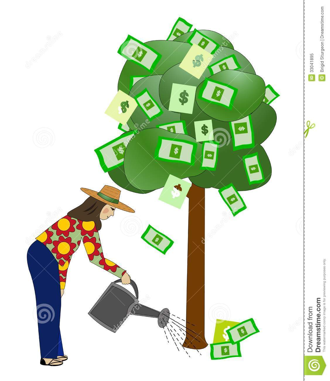 Watering The Money Tree Royalty Free Stock Photo - Image: 33041895