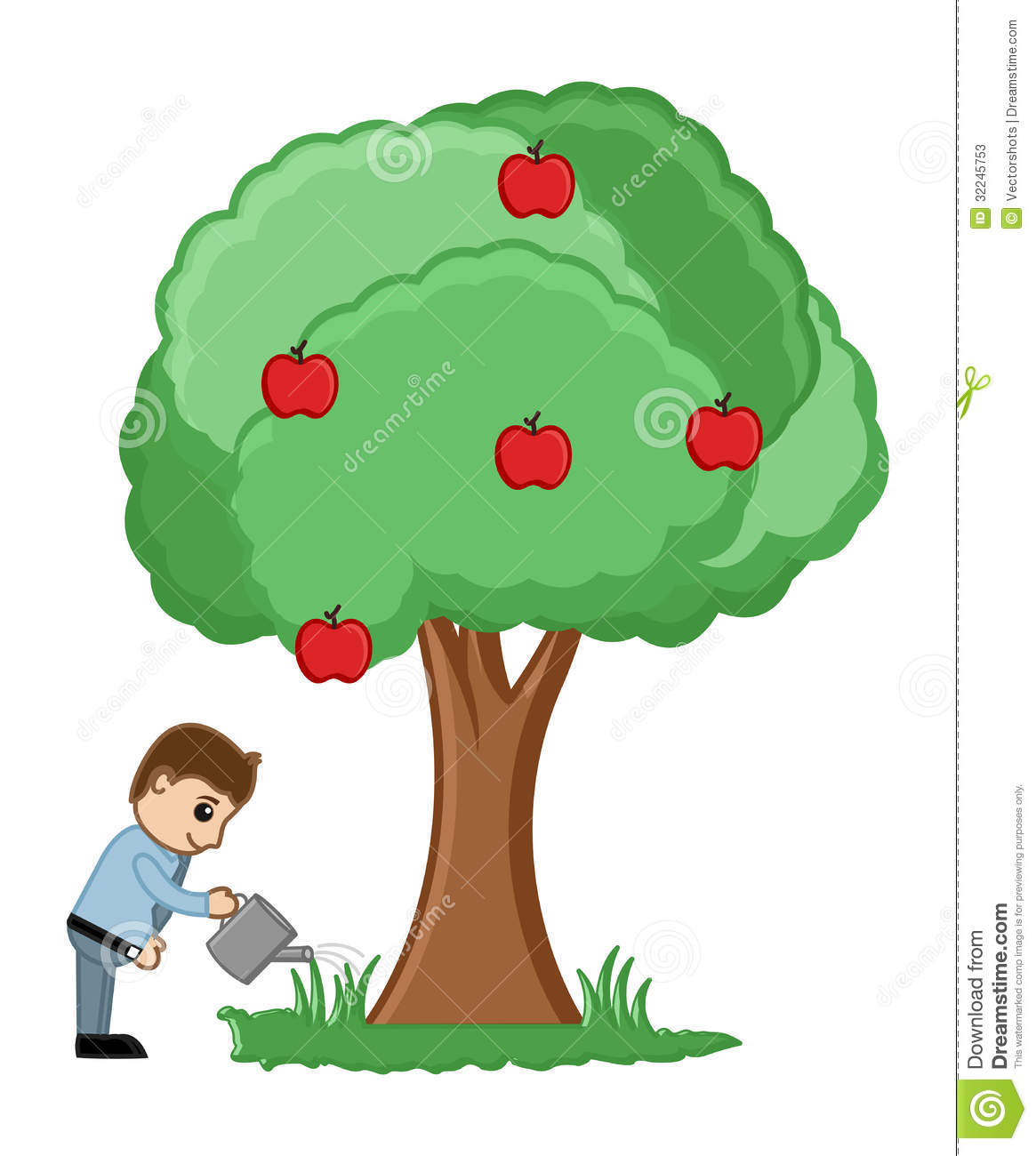 watering a tree vector stock illustration illustration