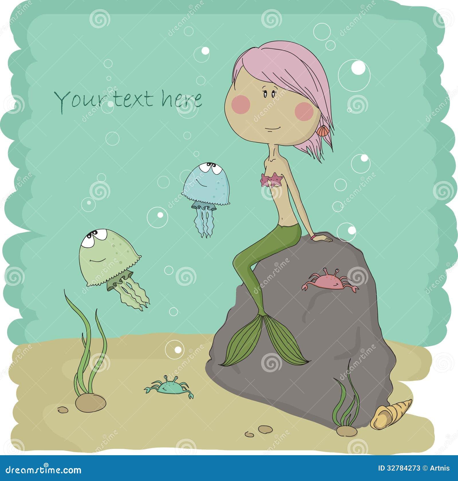 Waterkoninkrijk. Illustratie van de kleine meermin.