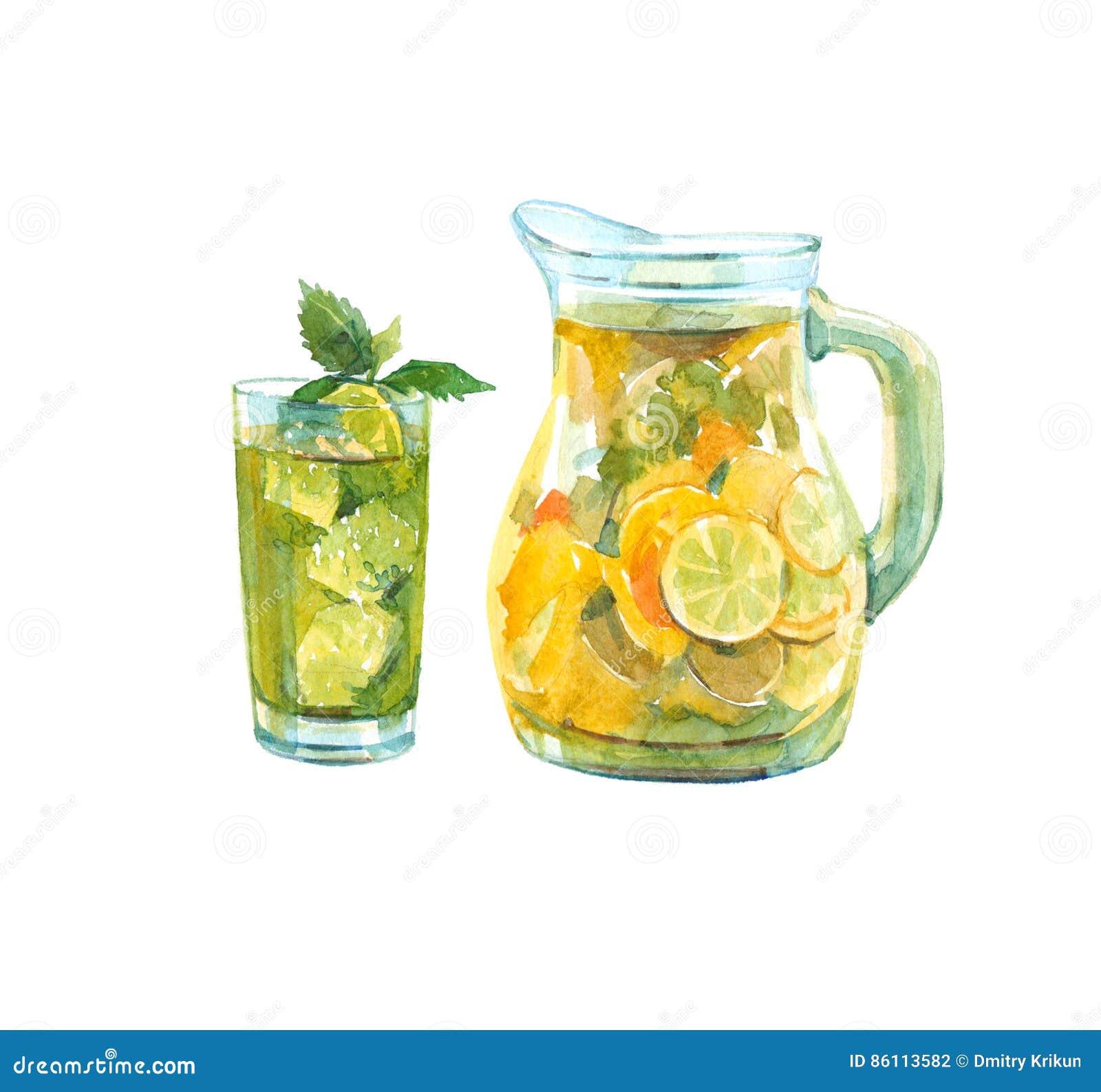 Waterkruik limonade Glas met een drank