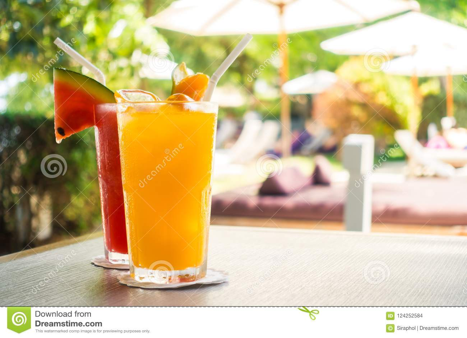 Waterlemon and orange juice in drinking glass