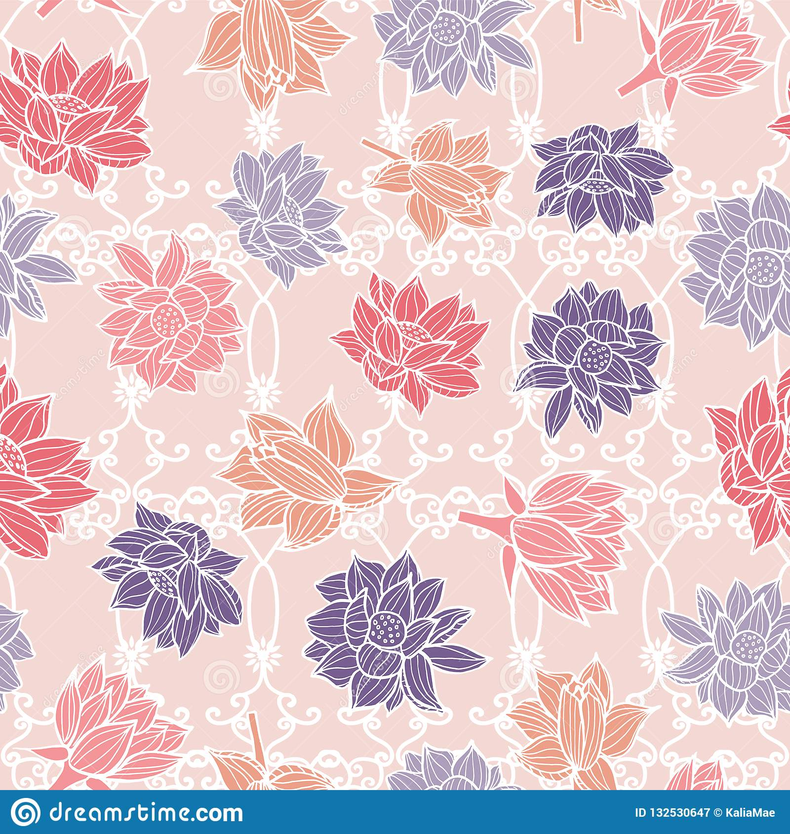 Waterlilies ou flores de lótus na textura sem emenda do fundo do teste padrão da decoração do ornamento do jardim em um estilo co