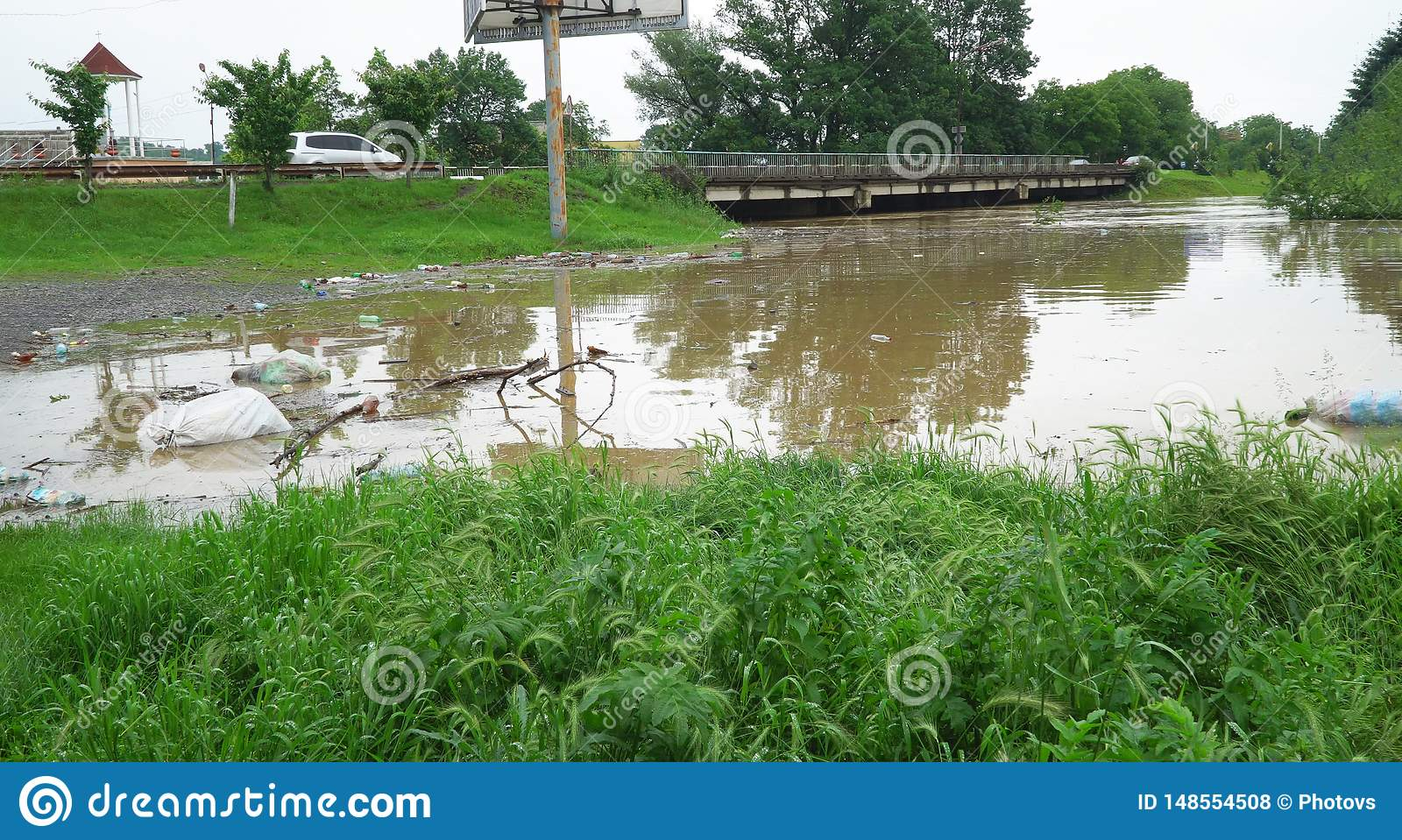 Waterlogged flooding channels developing high water of a small river