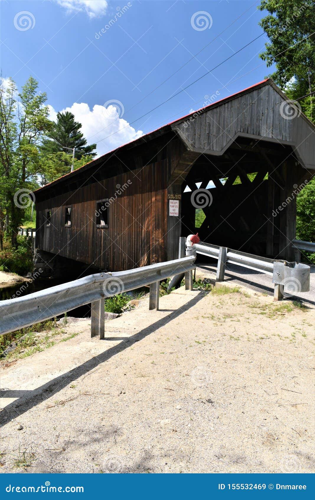 Waterloo-überdachte Brücke, Stadt von Warner, Merrimack County, New Hampshire, Vereinigte Staaten, Neu-England