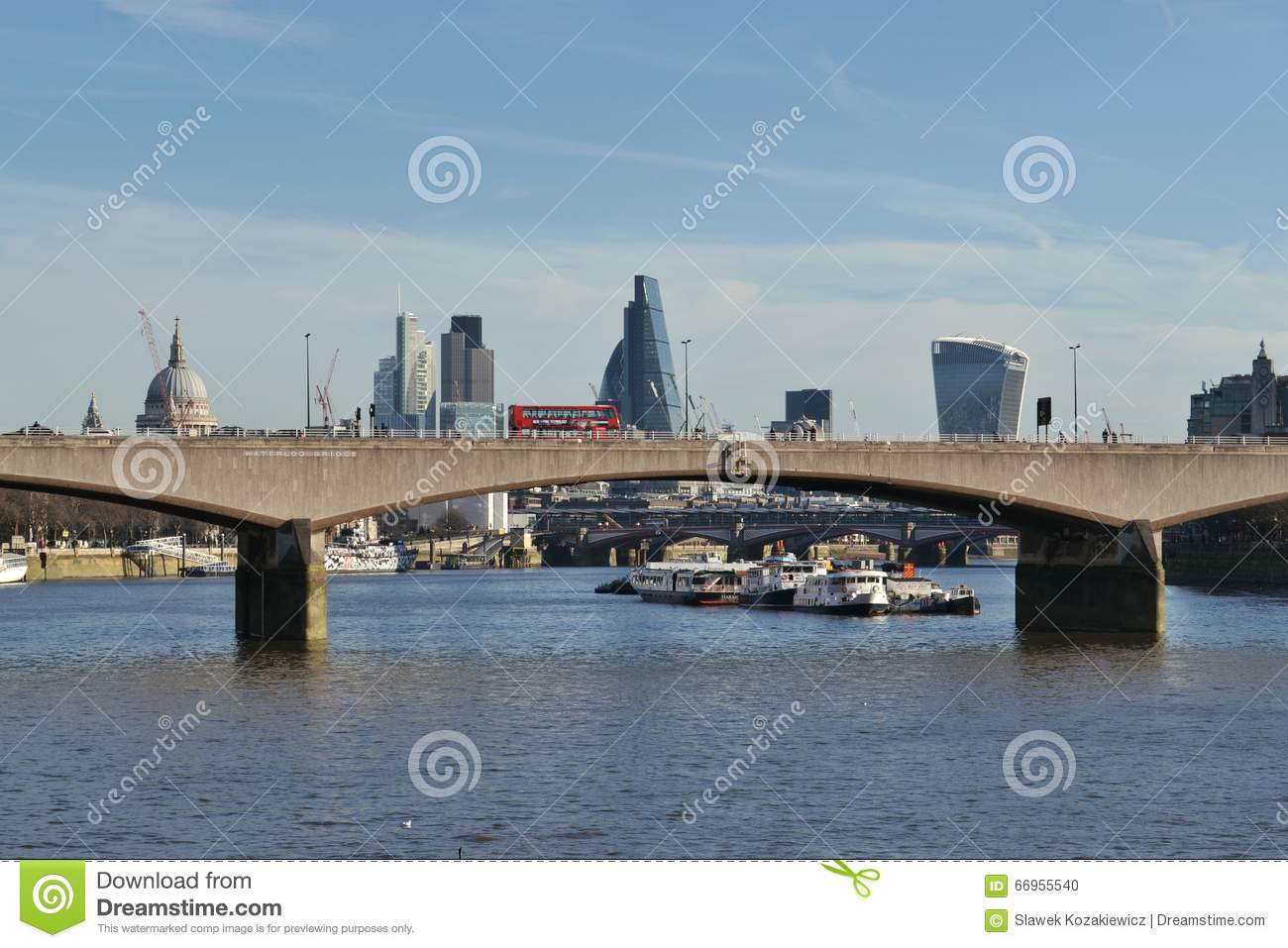 waterloo bridge river thames london editorial image