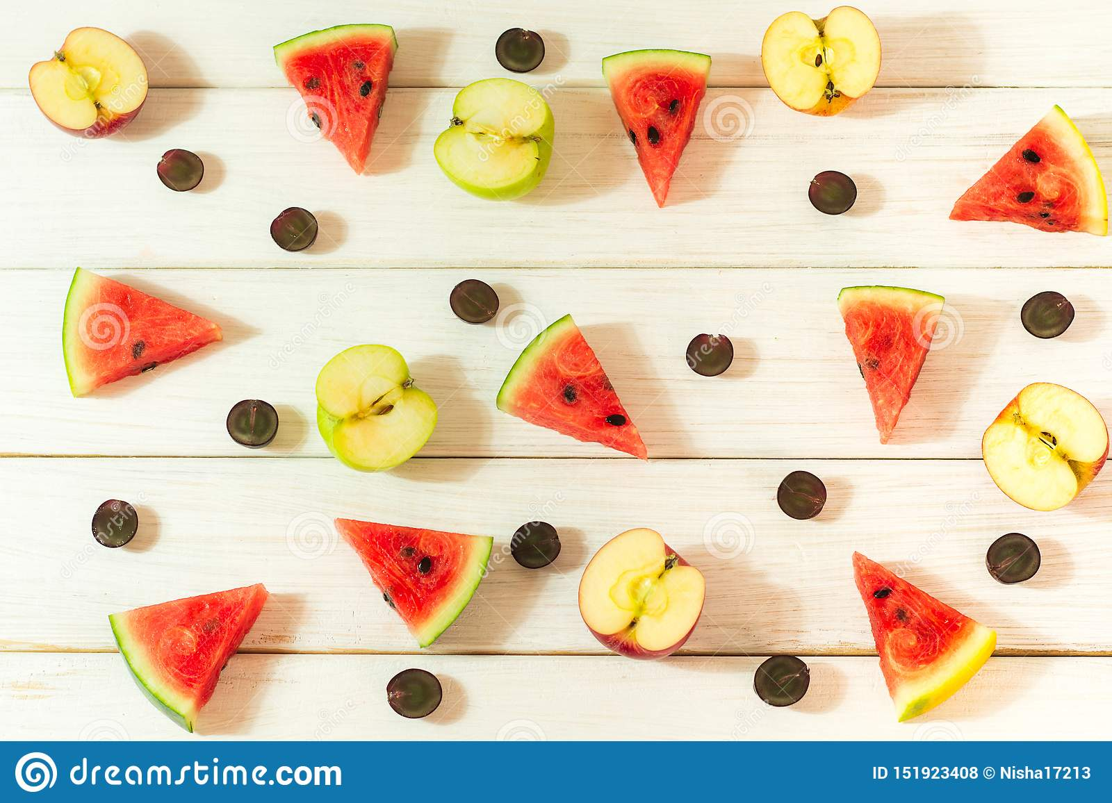 Watermelon and apples cut into small pieces