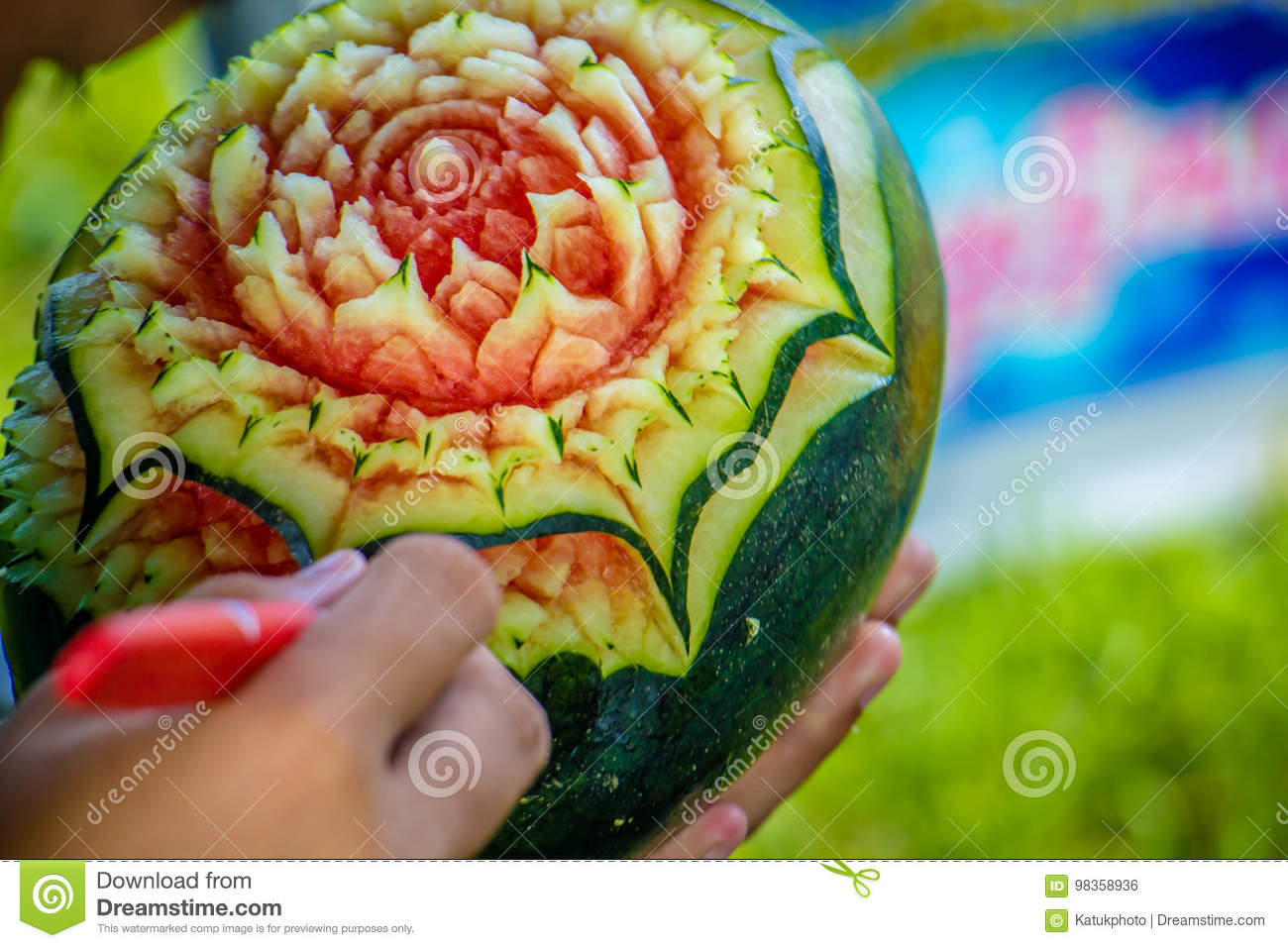Watermelon carving with hand thailand stock photo image of food