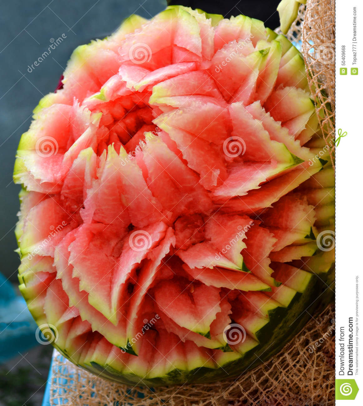 Watermelon carving stock photo image of creative close