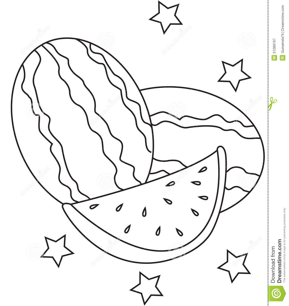 Watermelon Coloring Page Stock Illustration - Image: 51089197