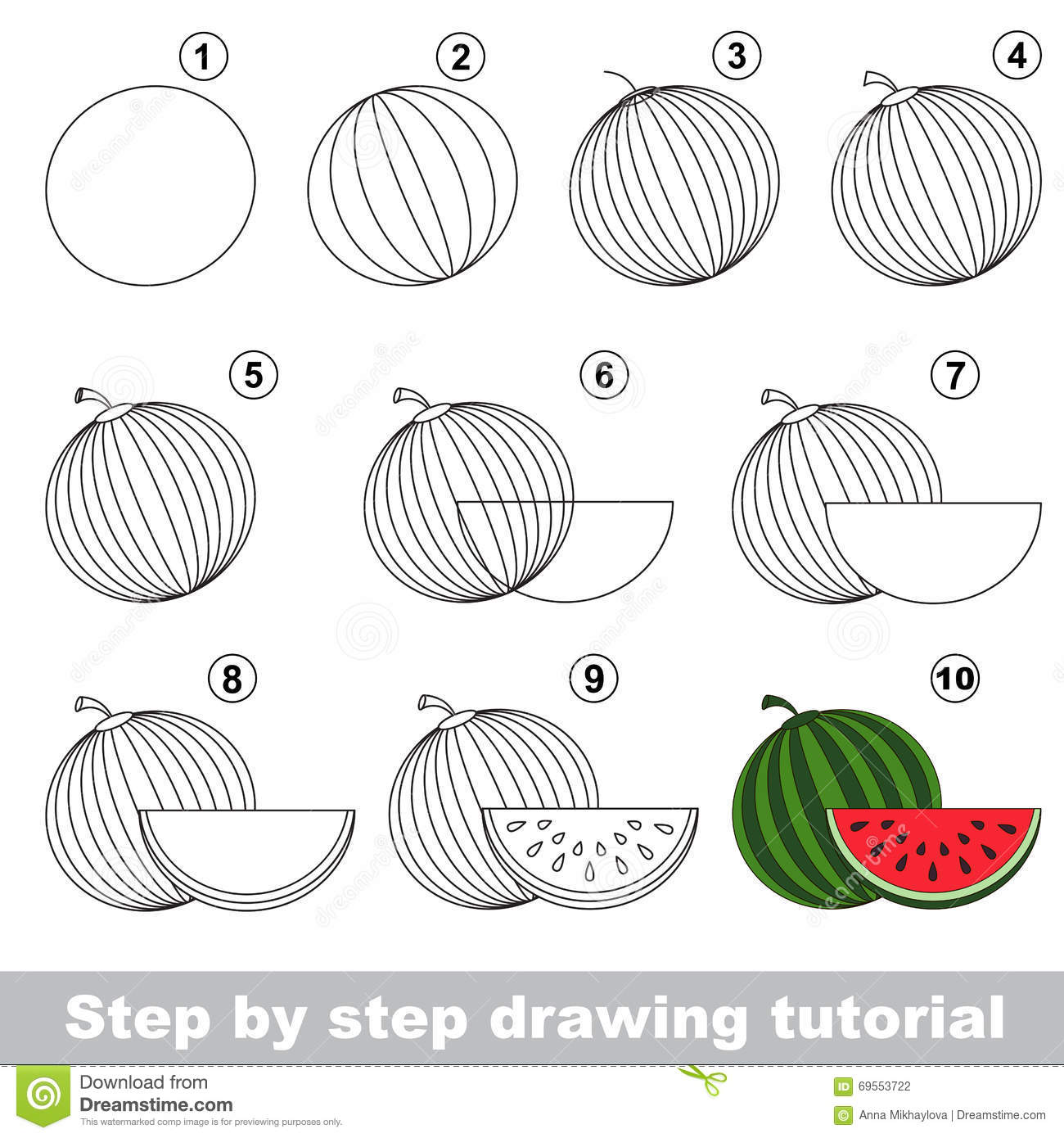 Watermelon. Drawing Tutorial. Stock Vector - Illustration of skill ... for Watermelon Drawing For Kids  166kxo