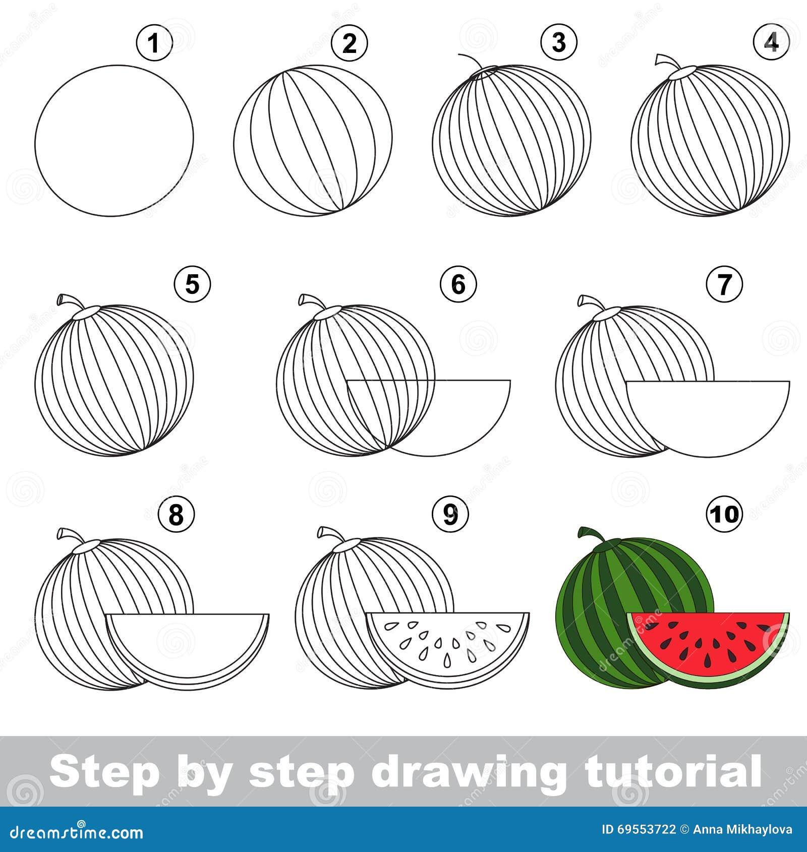 Watermelon drawing tutorial