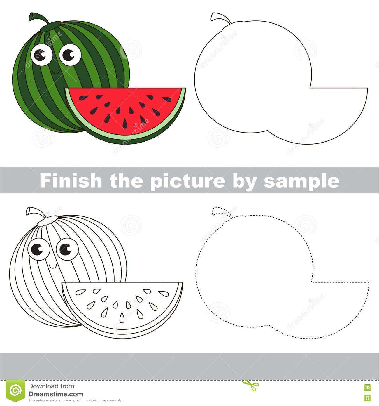 Watermelon Drawing Worksheet Stock Vector Illustration Of Finish