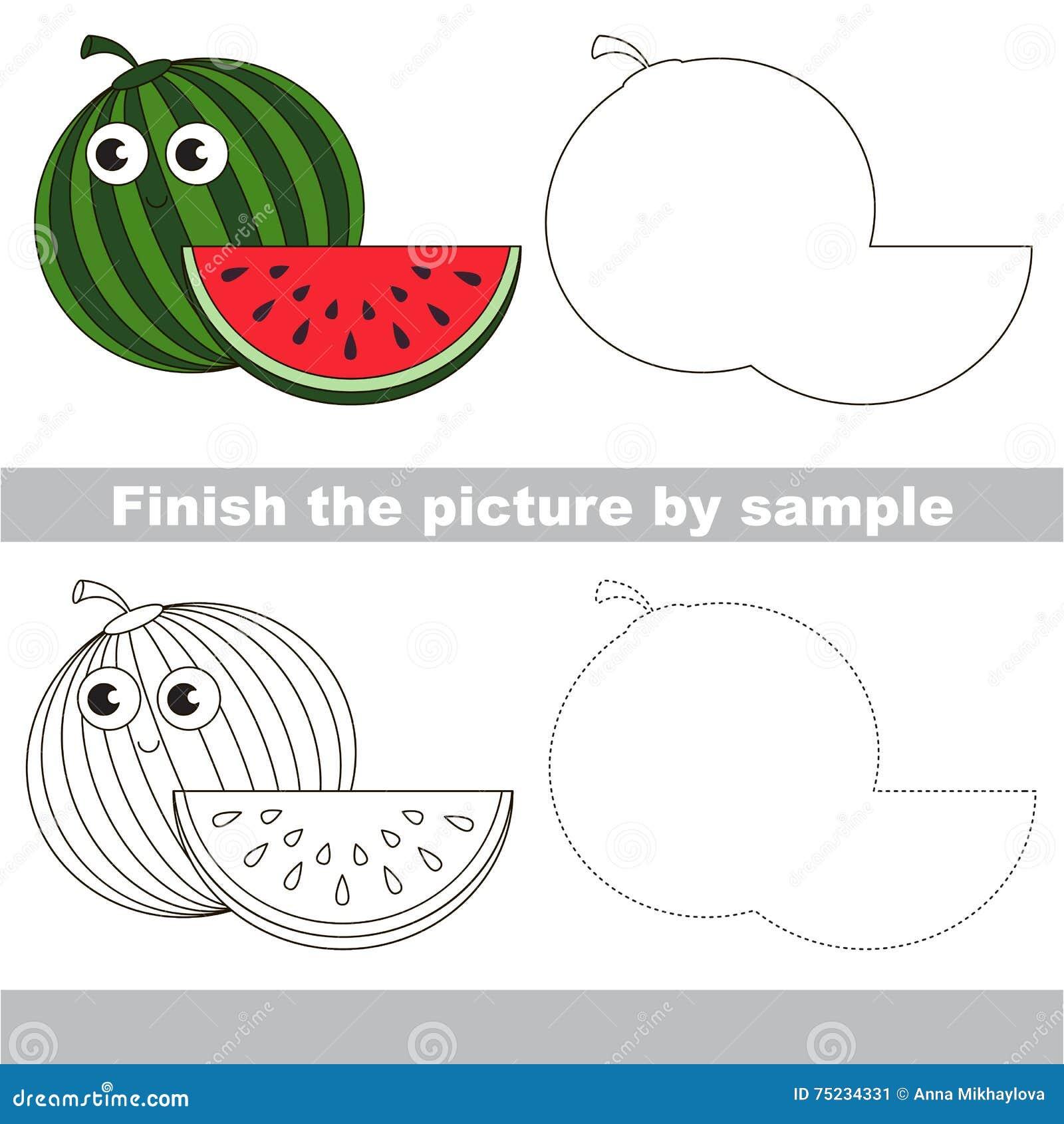 Watermelon drawing worksheet