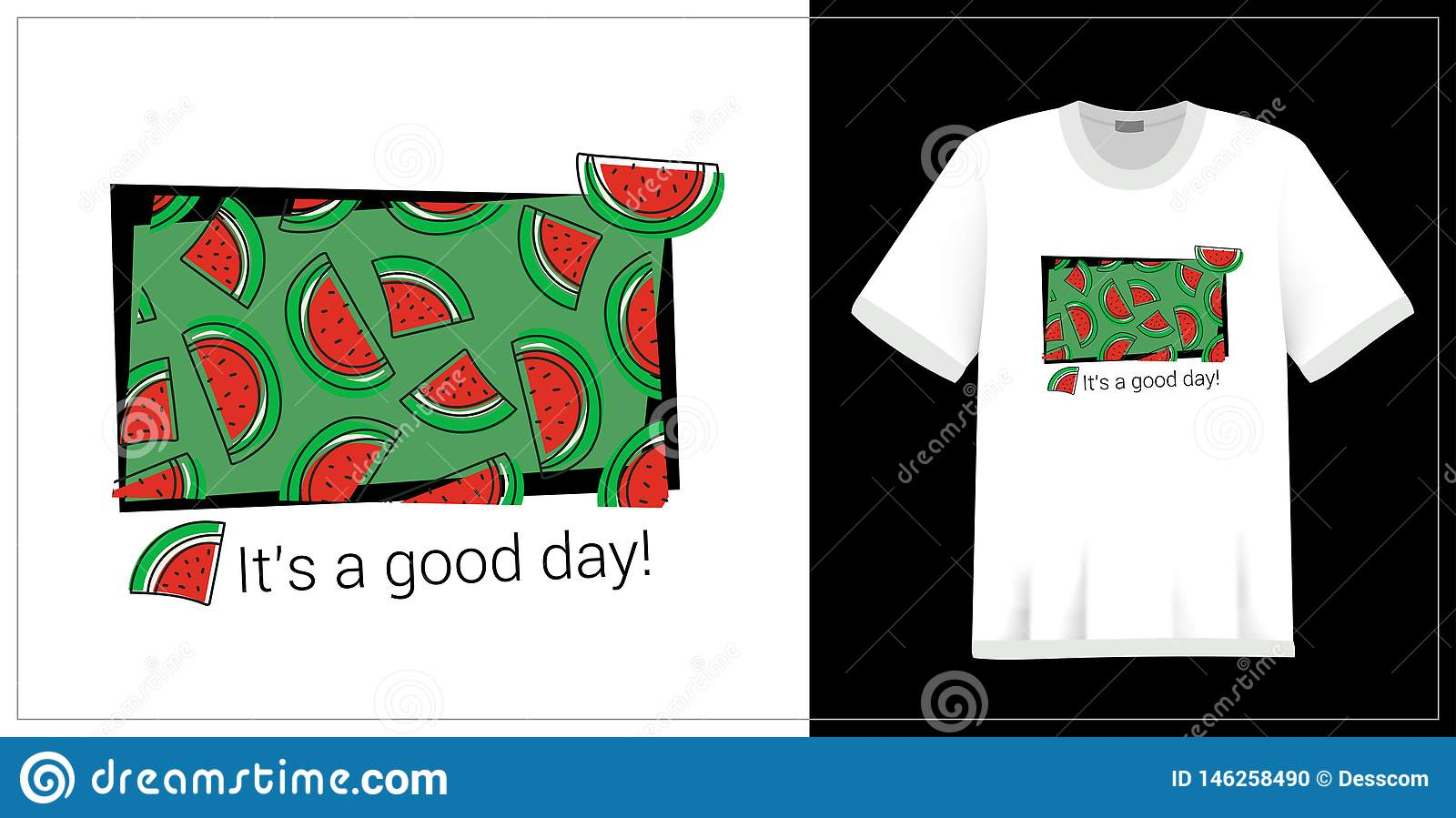 Watermelon pattern. T-shirt print. It`s a good day. Summer design. Vector sketch. Hand drawn fresh berry. Doodle red and green