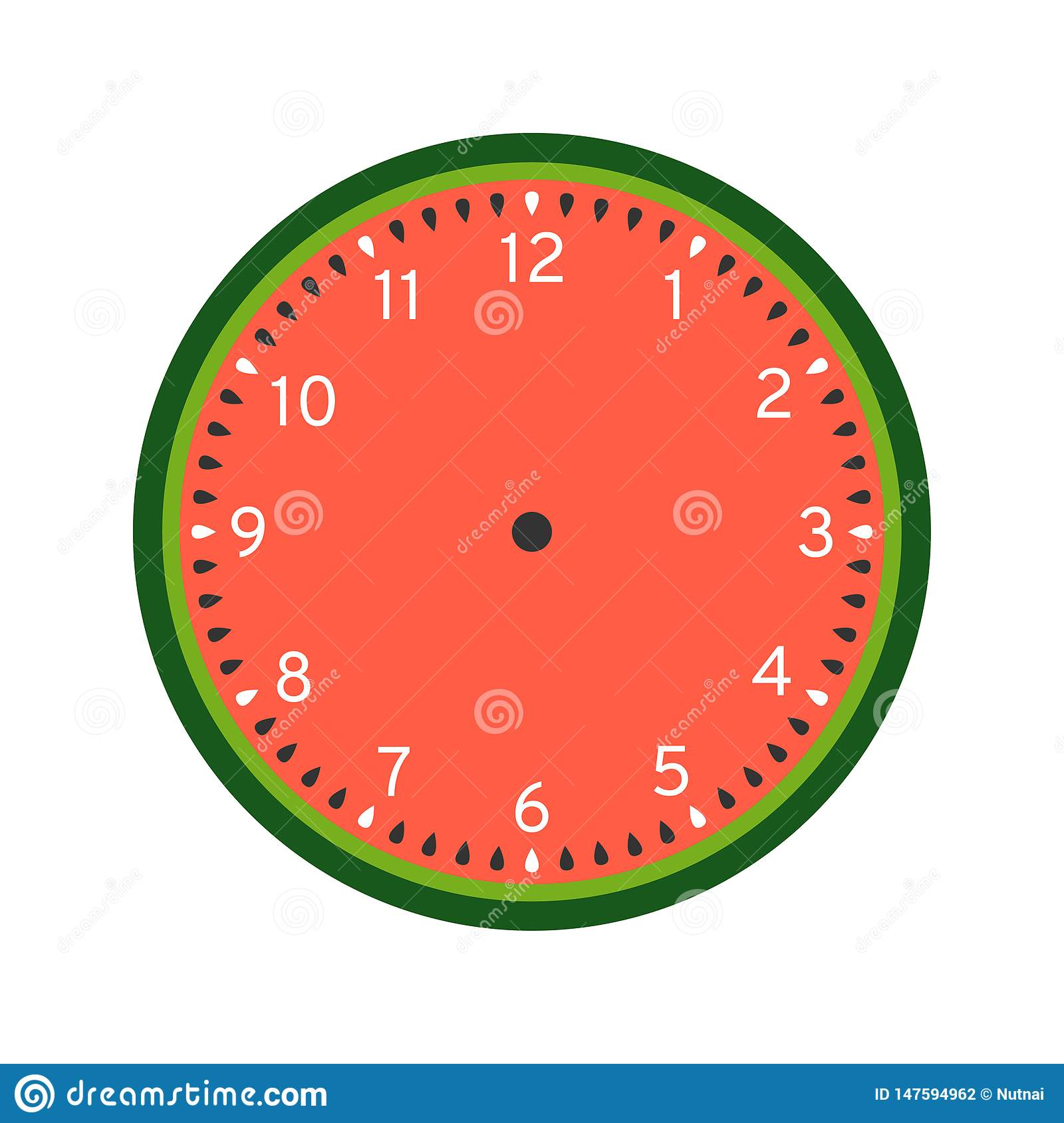 graphic about Clock Printable named Watermelon Printable Clock Deal with Template Inventory Vector