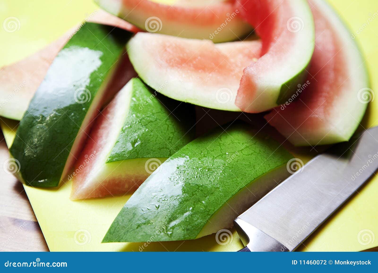 Watermelon Rind on a cutting mat