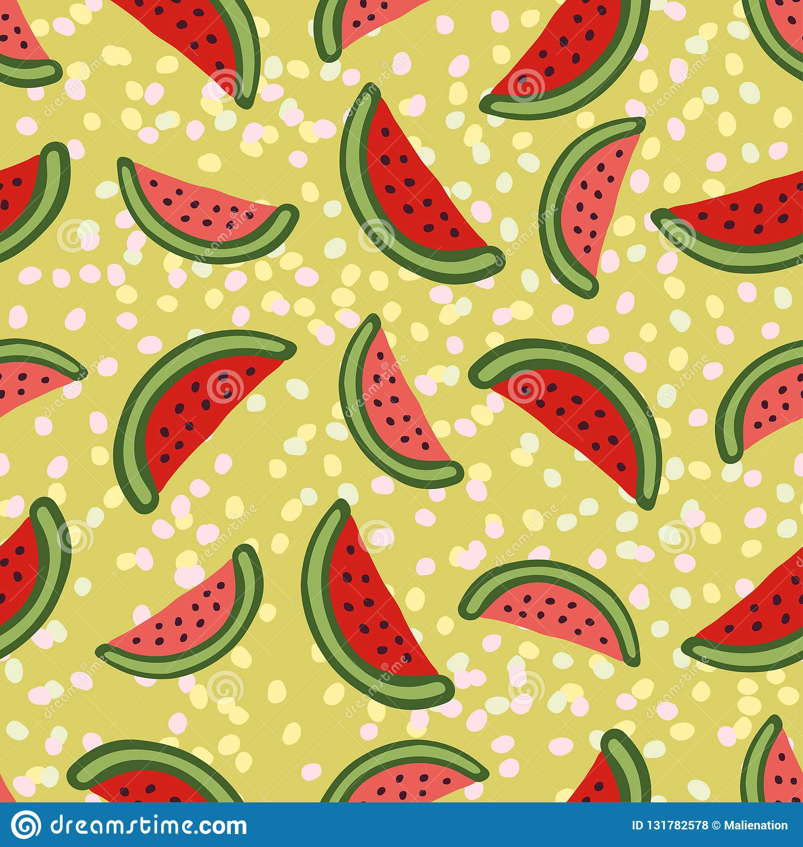 Watermelon seamless pattern on green background. Modern wrapping paper and xextile print. Interior decor and baby wallpaper pattern design