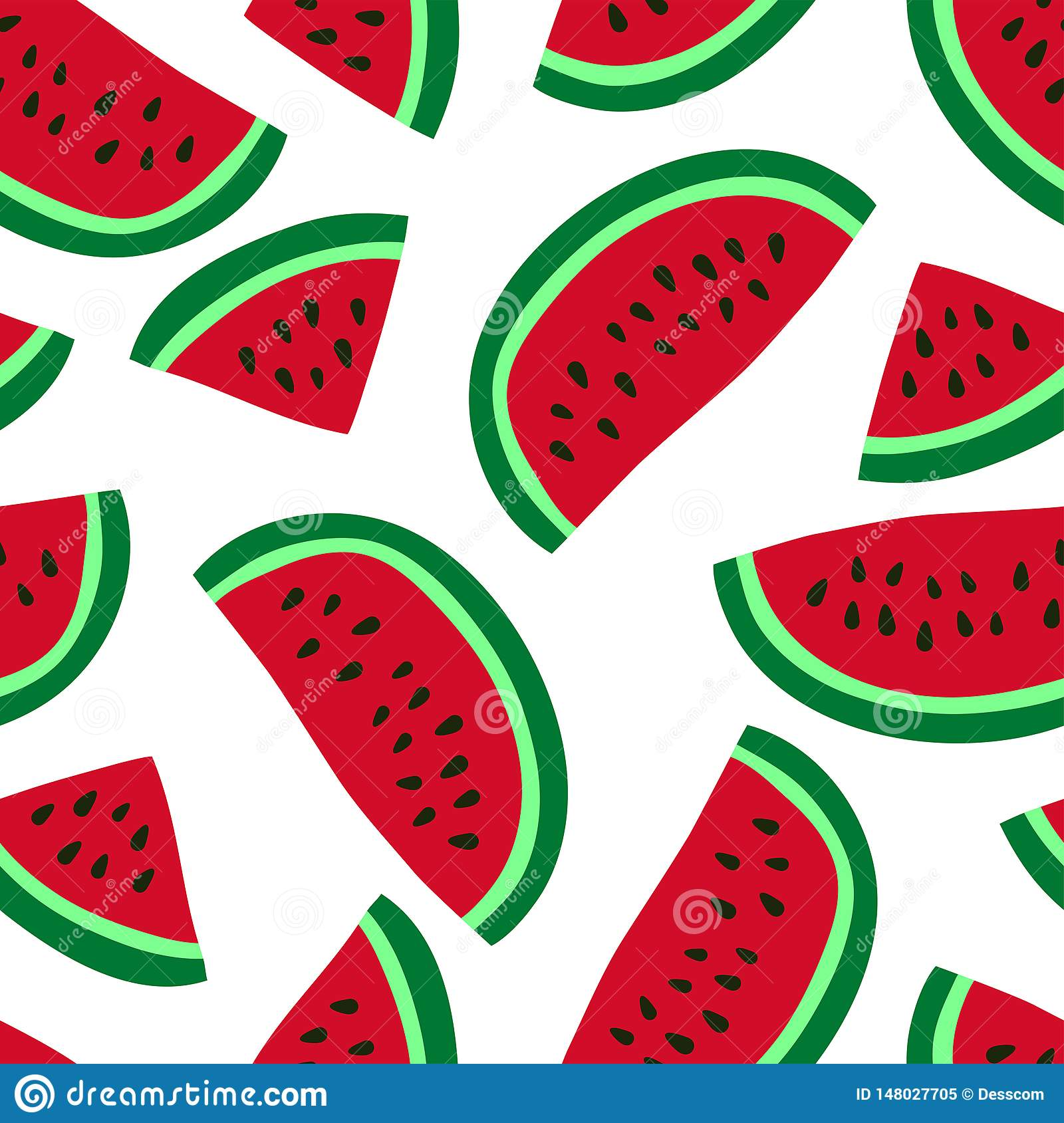 Watermelon seamless pattern. Hand drawn fresh berry. Vector sketch background. Red and green print for kitchen tablecloth, curtain