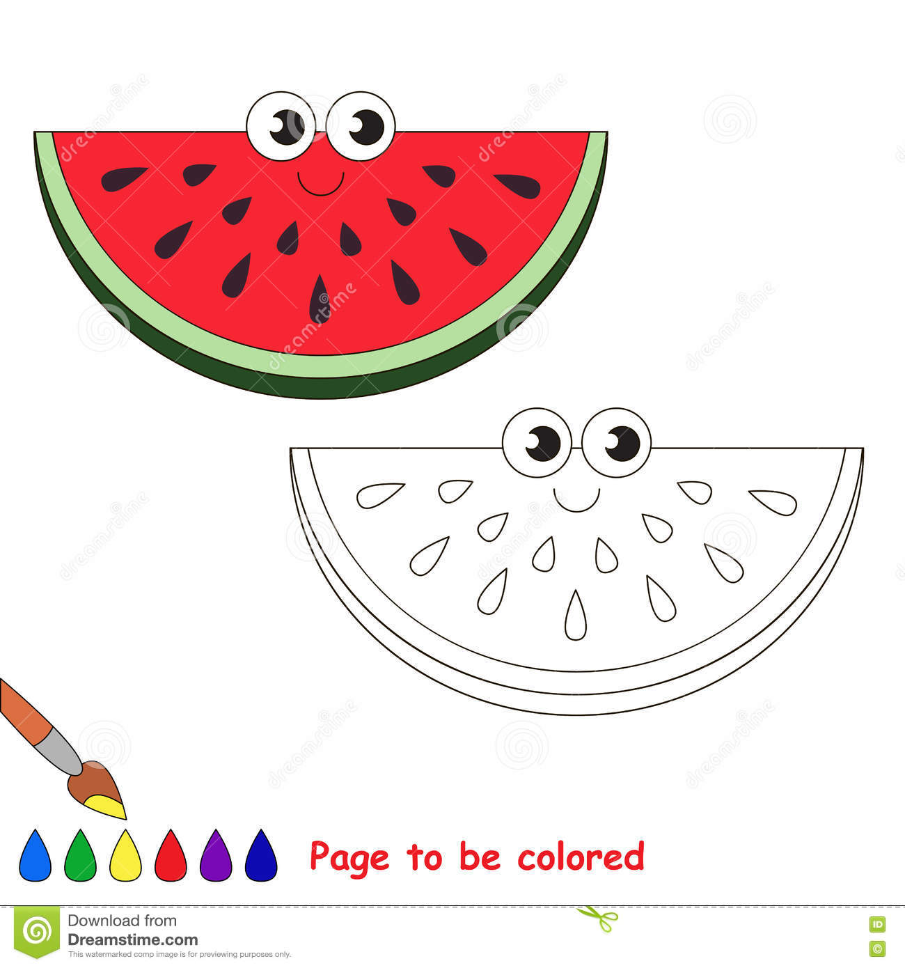 watermelon slice cartoon page to be colored stock vector image