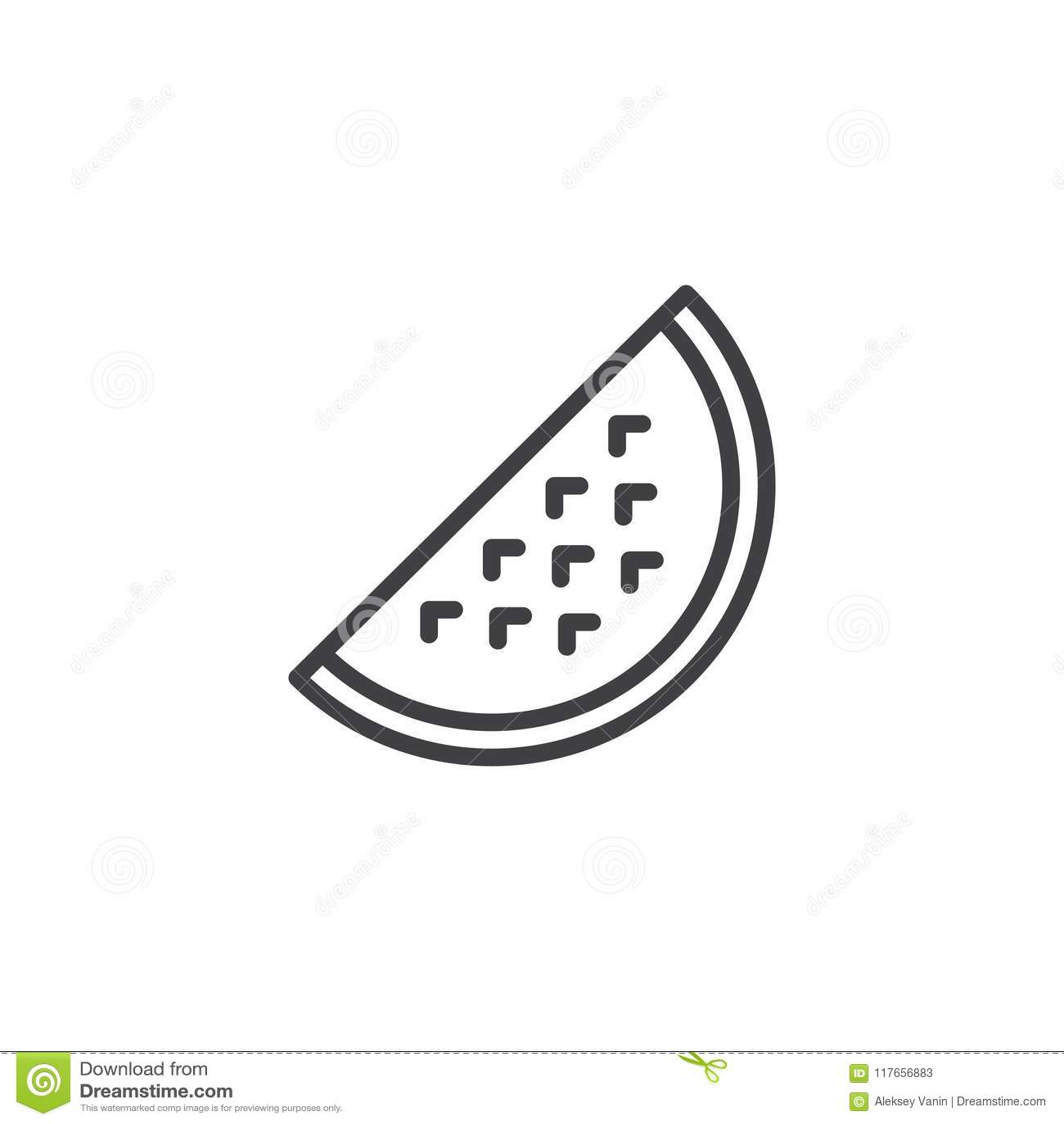Watermelon Slice Outline Icon Stock Vector Illustration Of Single Dessert 117656883