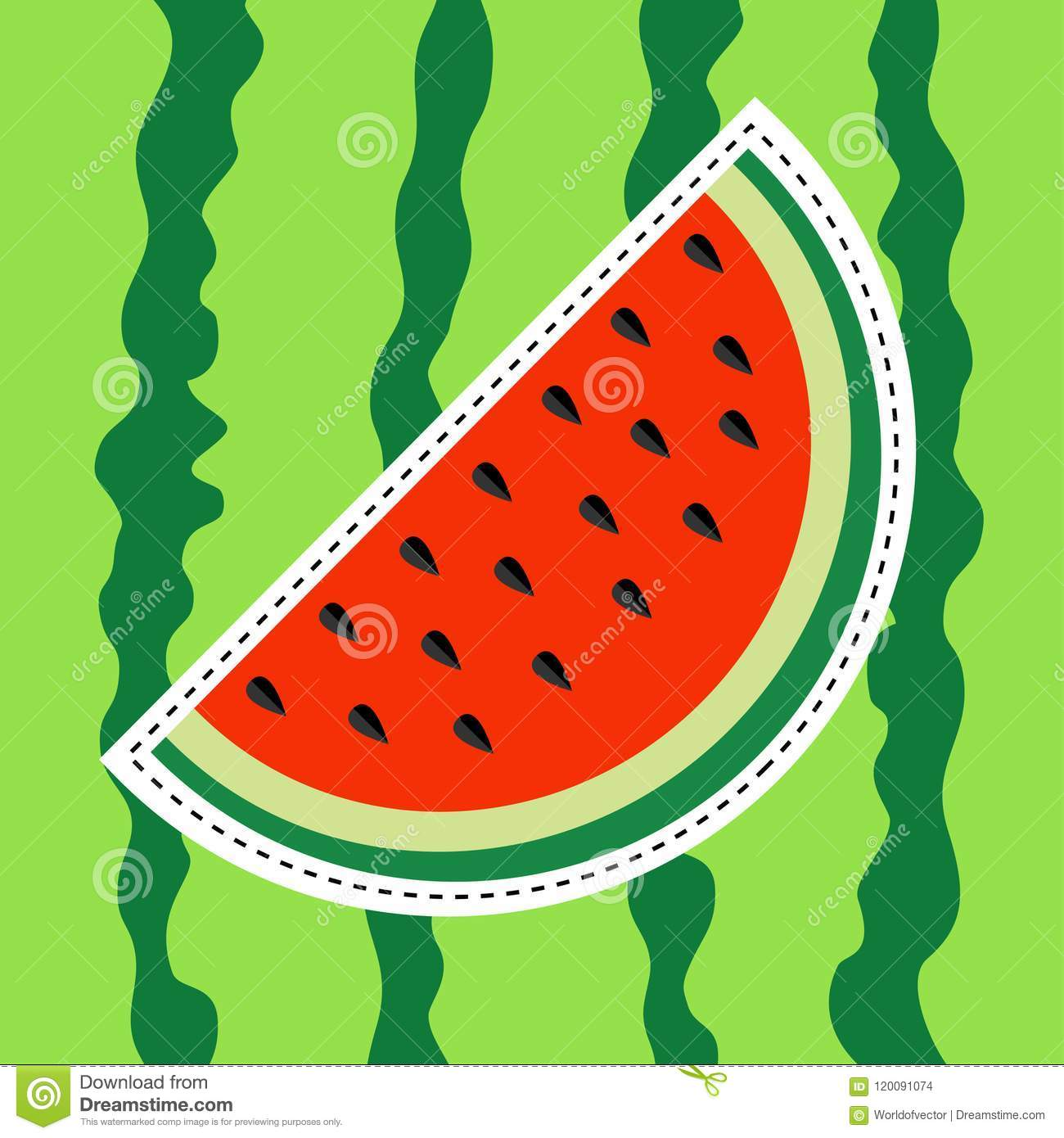 Watermelon slice sticker icon. Dash line. Cut half seeds. Sweet water melon. Red fruit berry flesh. Natural healthy food. Tropical