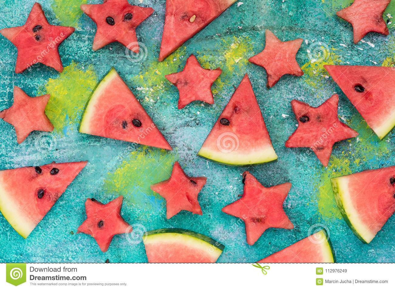 Watermelon slices and stars, garden party food