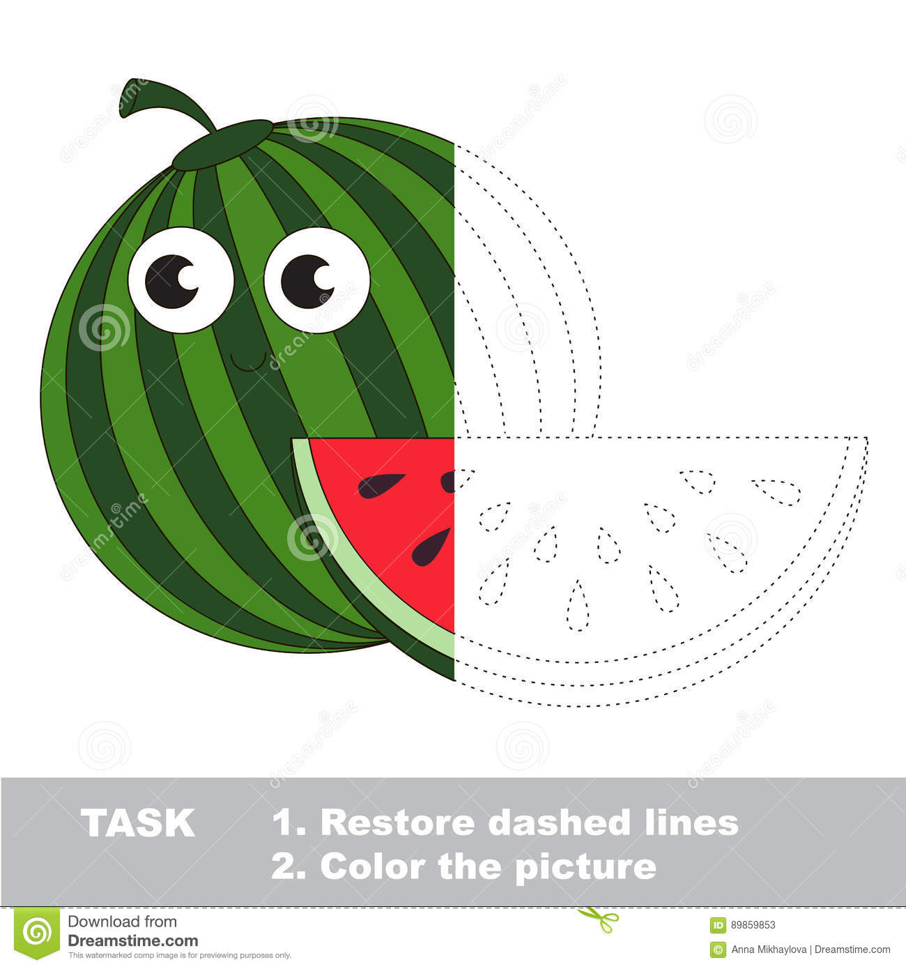 Watermelon To Be Colored. Vector Trace Game. Stock Vector ...