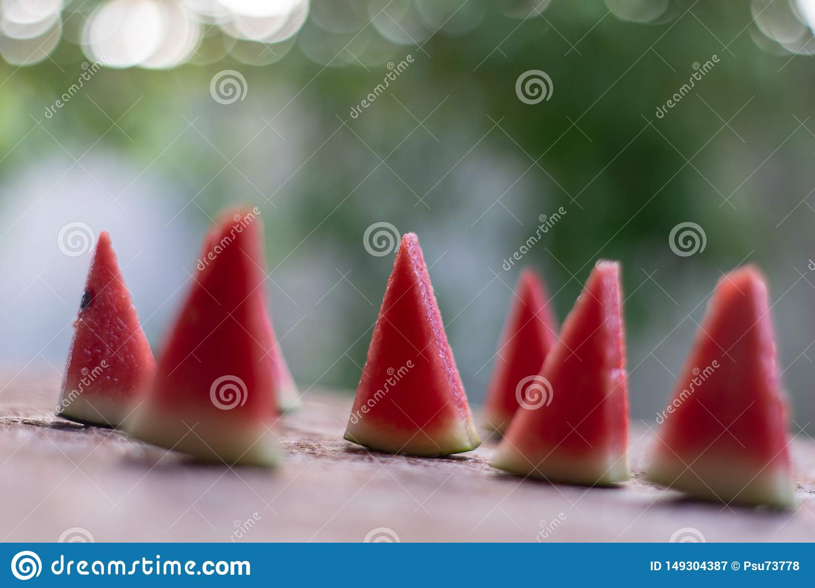 Watermelon trimmed in small red pieces